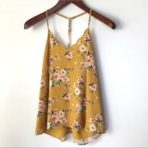 NINE BRITTON Yellow Gold V Neck Floral Print Top L